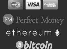 We accept Bitcoin, PayPal, Visa, MasterCard, Direct Debit, Skrill, OKPAY, Payza, Western Union and Perfect Money.
